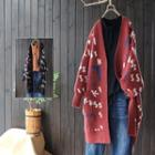 Open Front V-neck Print Long Cardigan