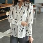 Open-placket Faux-pearl Patterned Shirt