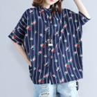 Floral Print Striped Elbow-sleeve Shirt
