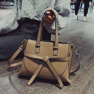 Faux Leather Bow Handbag
