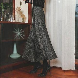 Glittered Pleated Maxi Skirt