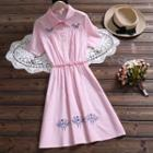 Embroidered Plaid Short-sleeve Collared Dress