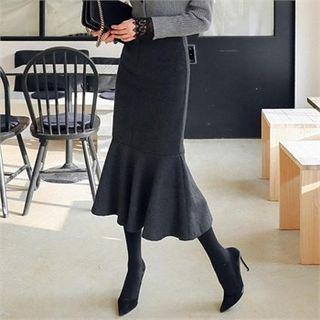 Band-waist Knit Long Mermaid Skirt