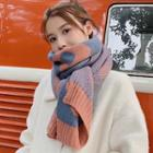 Flower Print Knit Scarf