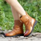 Genuine Leather Ruched Short Boots