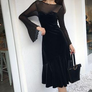 Long-sleeve Mesh Panel Midi A-line Velvet Dress Black - One Size