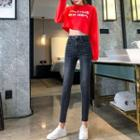 Washed Cropped Slim-cut Jeans