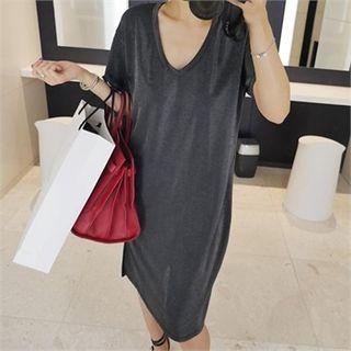 V-neck Slit-side T-shirt Dress