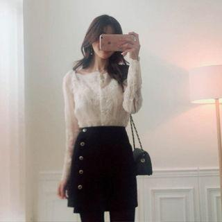 Set: Wide-cuff Lace Sheer Blouse + Camisole Top