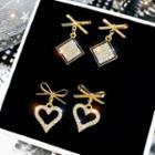 Alloy Bow Rhinestone Square / Heart Dangle Earring