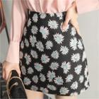 Floral-pattern A-line Miniskirt