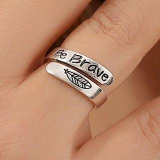 Arrow / Feather Engraved Alloy Open Ring