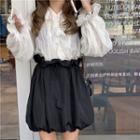 Long-sleeve Ruffled Blouse / A-line Mini Skirt
