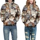 Couple Cat-print Hooded Pullover