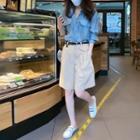 Set: Long-sleeve Denim Shirt + Shorts
