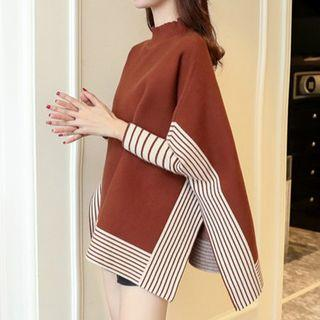 Stripe-trim Panel Cape