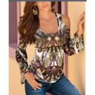 Printed Cold Shoulder Long-sleeve T-shirt