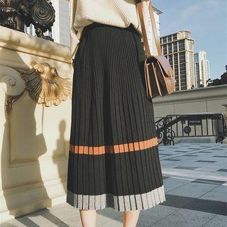 Accordion Pleat Midi Knit Skirt Black - One Size