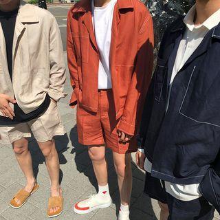Long-sleeve Shirt / Plain Shorts