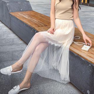 Chiffon Overlay Lace Trim Midi Skirt