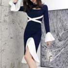 Oval-cutout Long-sleeve Midi Split Sheath Dress