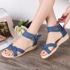 Ankle-strap Kitten-wedge Sandals
