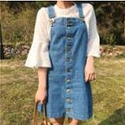 Set: Eyelet Lace Bell-sleeve Top + Buttoned Denim Pinafore Dress