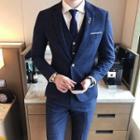 Suit Set: Plaid Blazer + Vest + Dress Pants