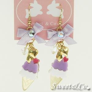 Mini Berry Ice-cream Gold Ribbon Earrings