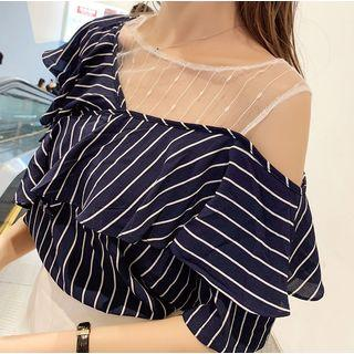 Mesh-panel Striped Elbow-sleeve Chiffon Top
