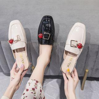 Square-toe Buckled Patent Mules