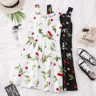 Printed Wide-strap Mini Dress