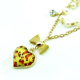 Leopard Heart And Bow Necklace Gold - One Size