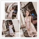 Set: Floral Print Chiffon Dress+mesh Dress