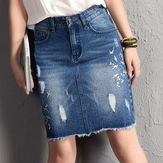 Ripped Embroidered Denim Skirt