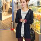 Check-trim Long Cardigan