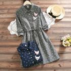 Mouse Applique Patterned Midi Dress