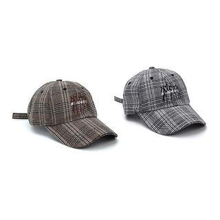 Embroidered Plaid Baseball Cap