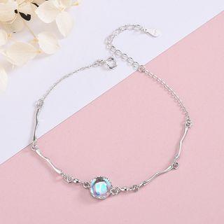 925 Sterling Silver Faux Crystal Bracelet Brs192 - Silver - One Size