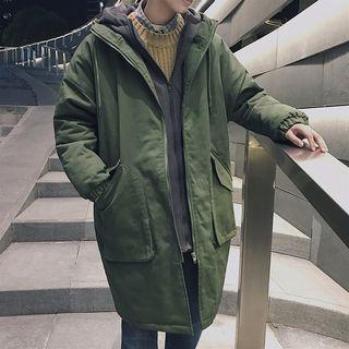 Mock Two Piece Hooded Long Padded Coat