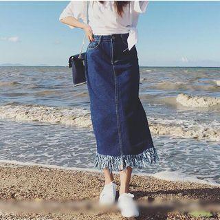 Fringed Denim A-line Skirt