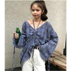 Plaid Drawstring Blouse