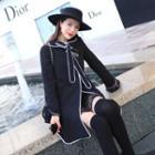 Stand-collar Long-sleeve Shift Dress