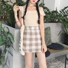 Plain Off Shoulder Short Sleeve Top / Plaid A-line Skirt
