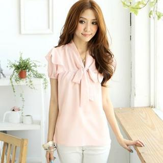Tie-neck Short-sleeve Top