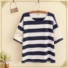 Lace Panel Stripe Short-sleeve T-shirt