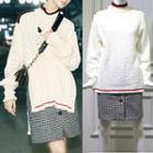 Stripe Trim Sweater / Houndstooth Skirt