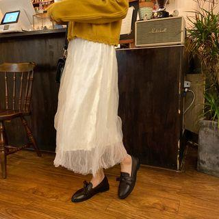 Crinkle-mesh A-line Skirt Light Almond - One Size