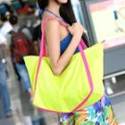 Contrast Trim Tote Neon Yellow And Fuchsia - One Size