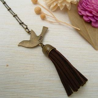 Pigeon Leather Necklace Copper - One Size